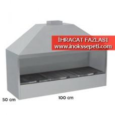 Kömürlü Davlumbazlı Izgara 100x50x105 cm